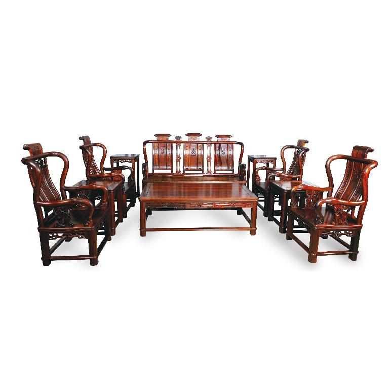 百子如意卷书沙发 刺猬紫檀 10件套 斯尔摩红木