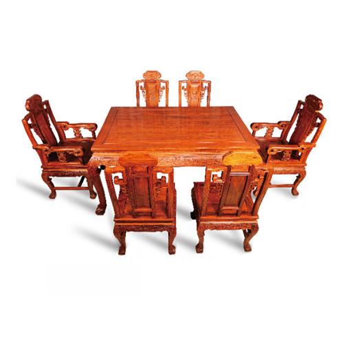 百子如意餐桌 刺猬紫檀 7件套 斯尔摩红木
