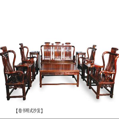 卷书明式沙发  刺猬紫檀 5件 斯尔摩红木