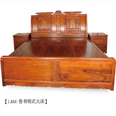 $!卷书大床1.8M 刺猬紫檀 3件 斯尔摩红木